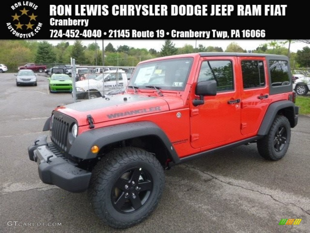 2017 Firecracker Red Jeep Wrangler Unlimited Sport 4x4 120201445 Car Color