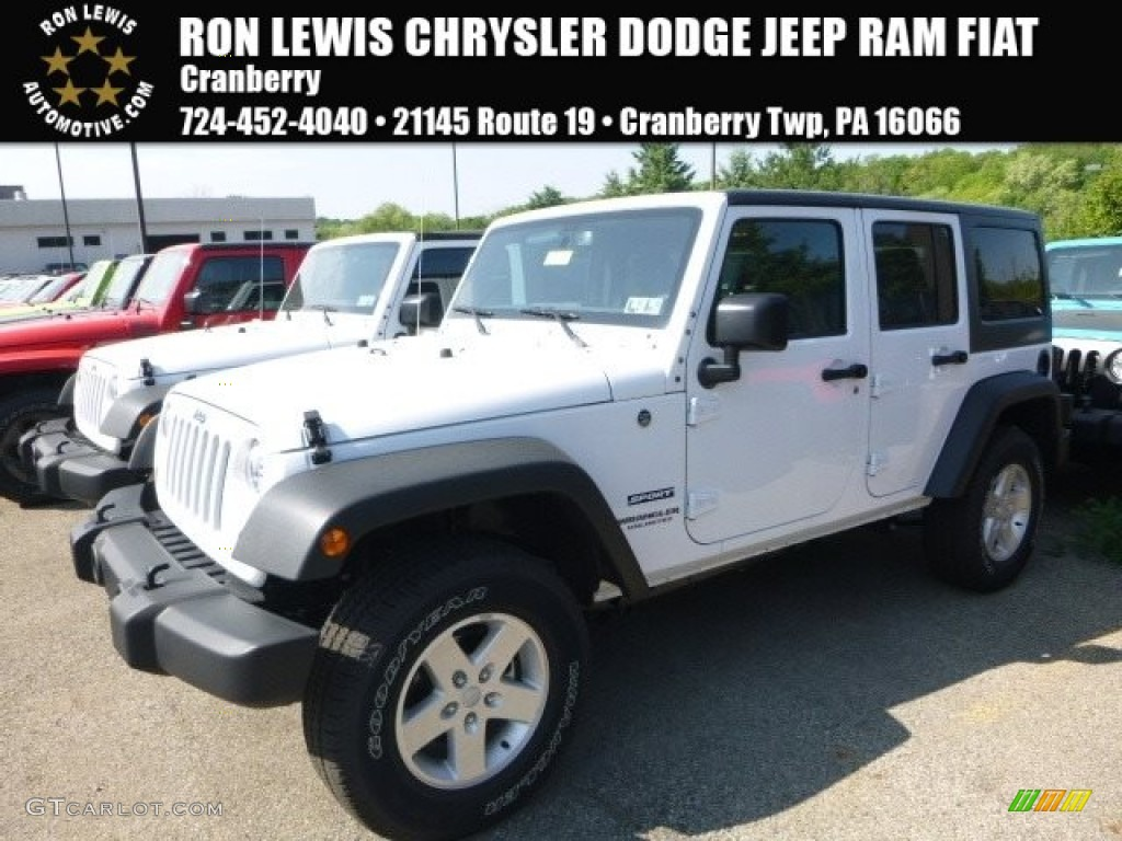 2017 Bright White Jeep Wrangler Unlimited Sport 4x4 120534647 Car Color Galleries