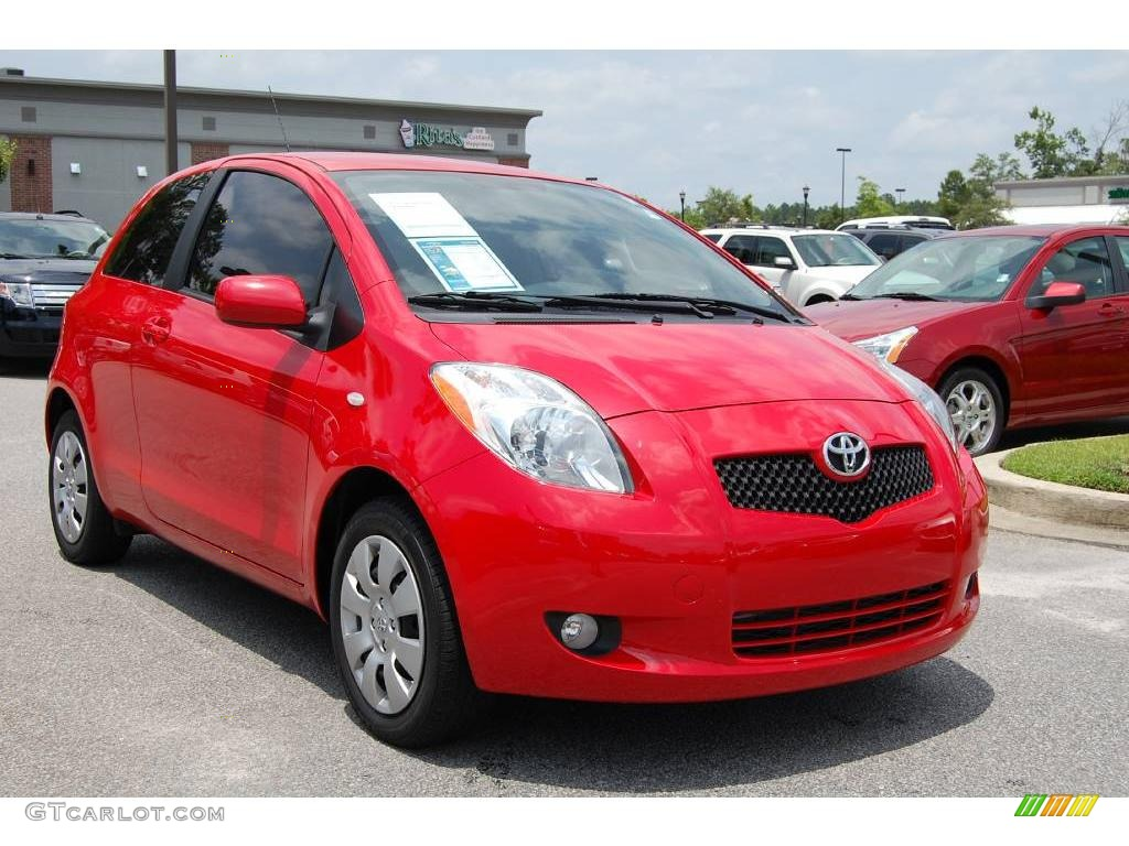 2008 absolutely red toyota yaris s 3 door liftback 12048148 car color galleries. Black Bedroom Furniture Sets. Home Design Ideas