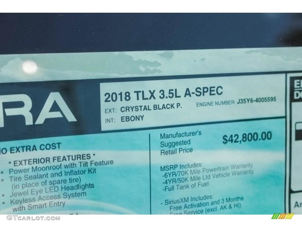 2018 Acura TLX V6 A-Spec Sedan Window Sticker Photo #121267227