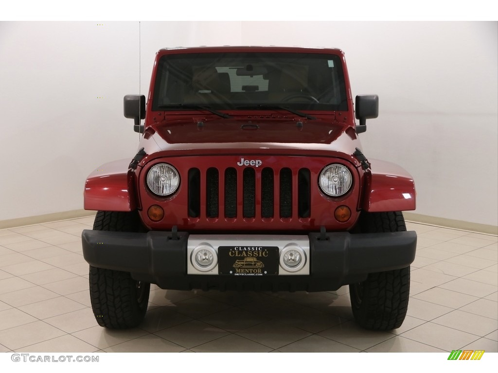 2011 Wrangler Sahara 4x4 - Deep Cherry Red Crystal Pearl / Black/Dark Saddle photo #2