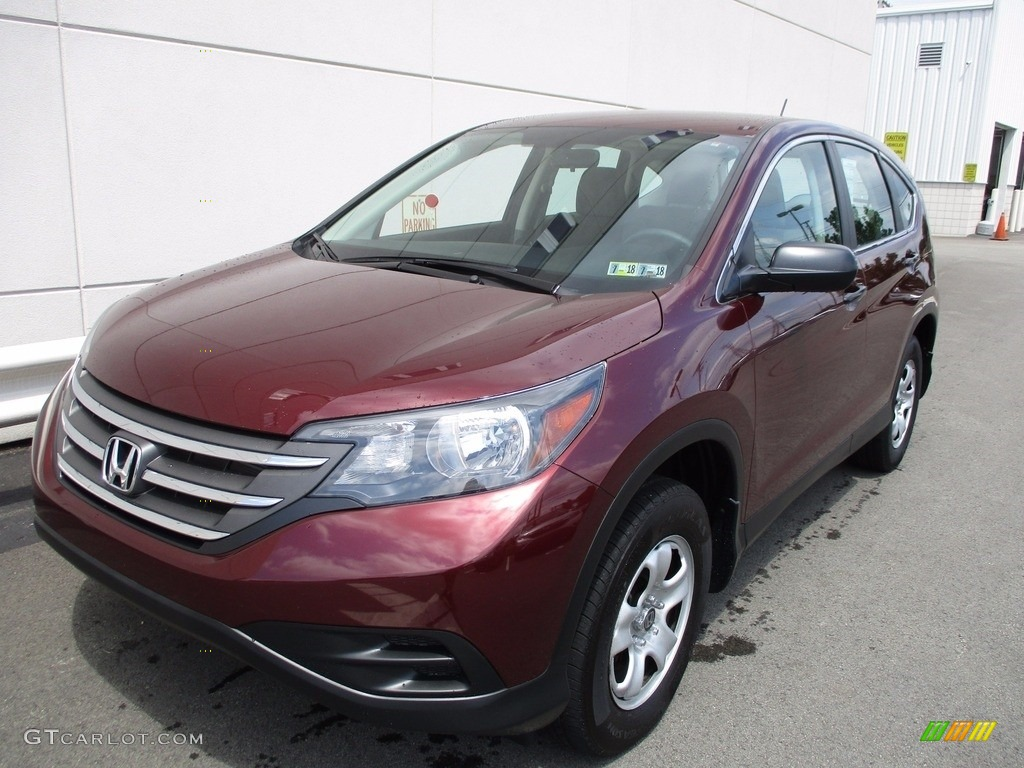 2014 CR-V LX AWD - Basque Red Pearl II / Gray photo #9