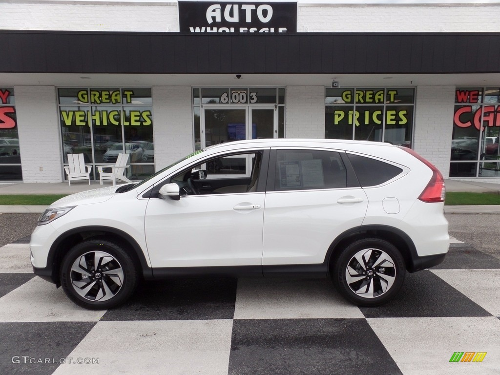 2015 CR-V Touring - White Diamond Pearl / Beige photo #1
