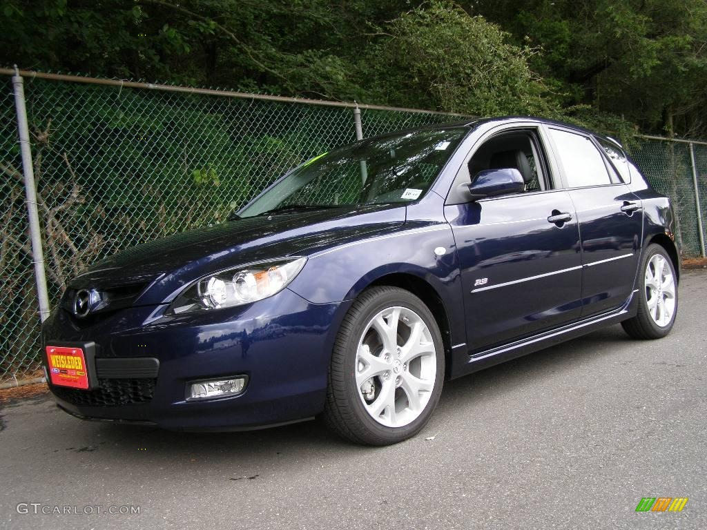 2009 stormy blue mica mazda mazda3 s grand touring hatchback 12131478 car. Black Bedroom Furniture Sets. Home Design Ideas