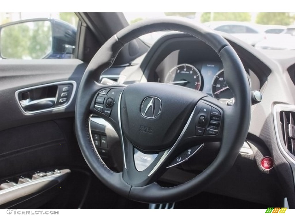 2018 Acura TLX V6 A-Spec Sedan Ebony Steering Wheel Photo #122043335