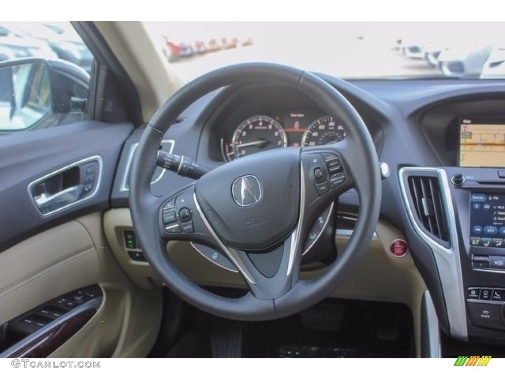 2018 Acura TLX V6 SH-AWD Advance Sedan Parchment Steering Wheel Photo #122051393