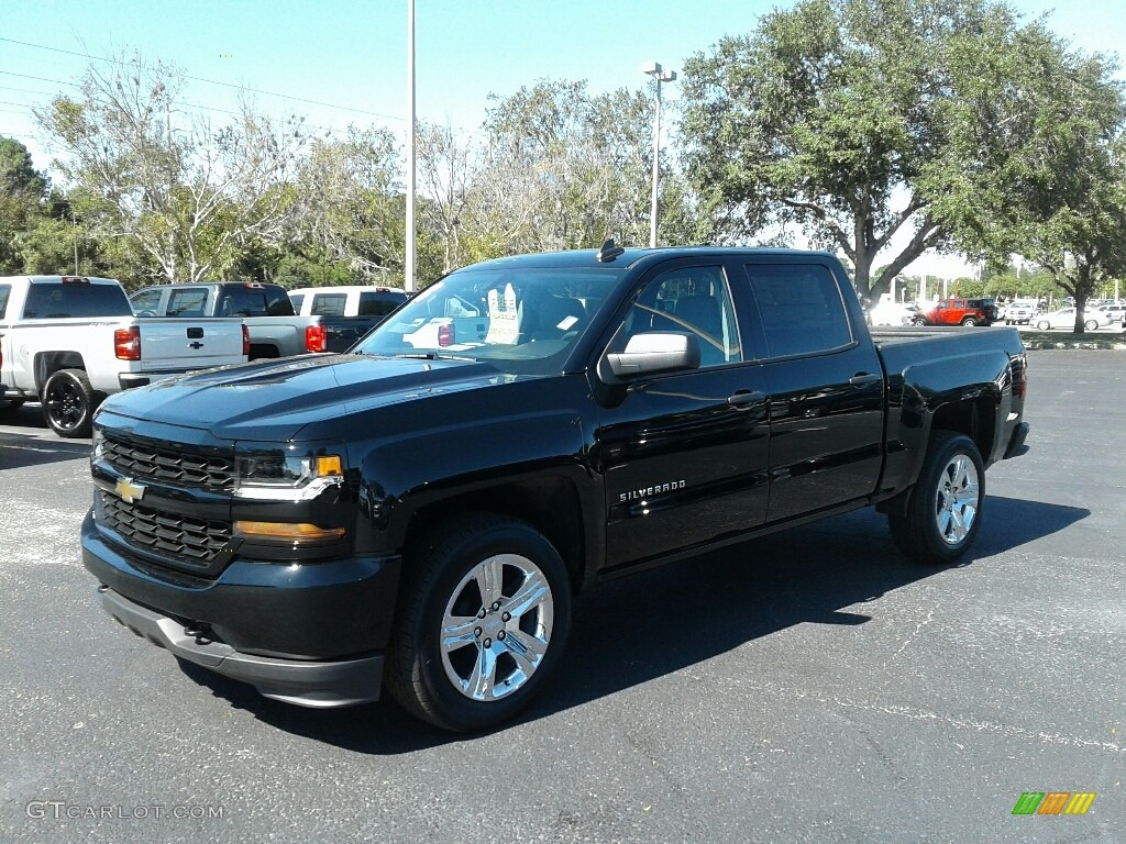 2018 Silverado 1500 Custom Crew Cab - Black / Dark Ash/Jet Black photo #1