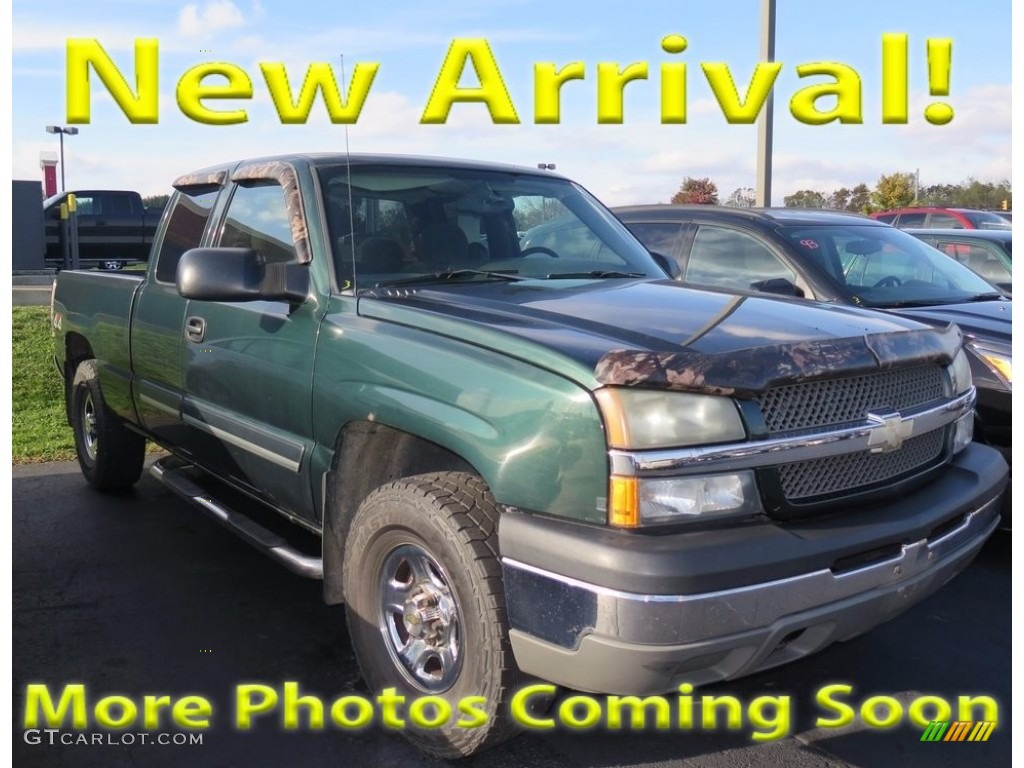 2004 Silverado 1500 LS Extended Cab 4x4 - Dark Green Metallic / Dark Charcoal photo #1