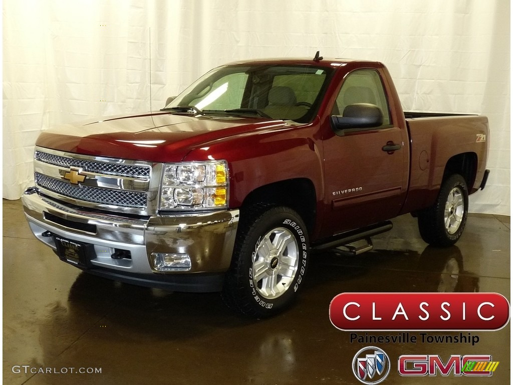 2013 Silverado 1500 LT Regular Cab 4x4 - Deep Ruby Metallic / Light Titanium/Dark Titanium photo #1