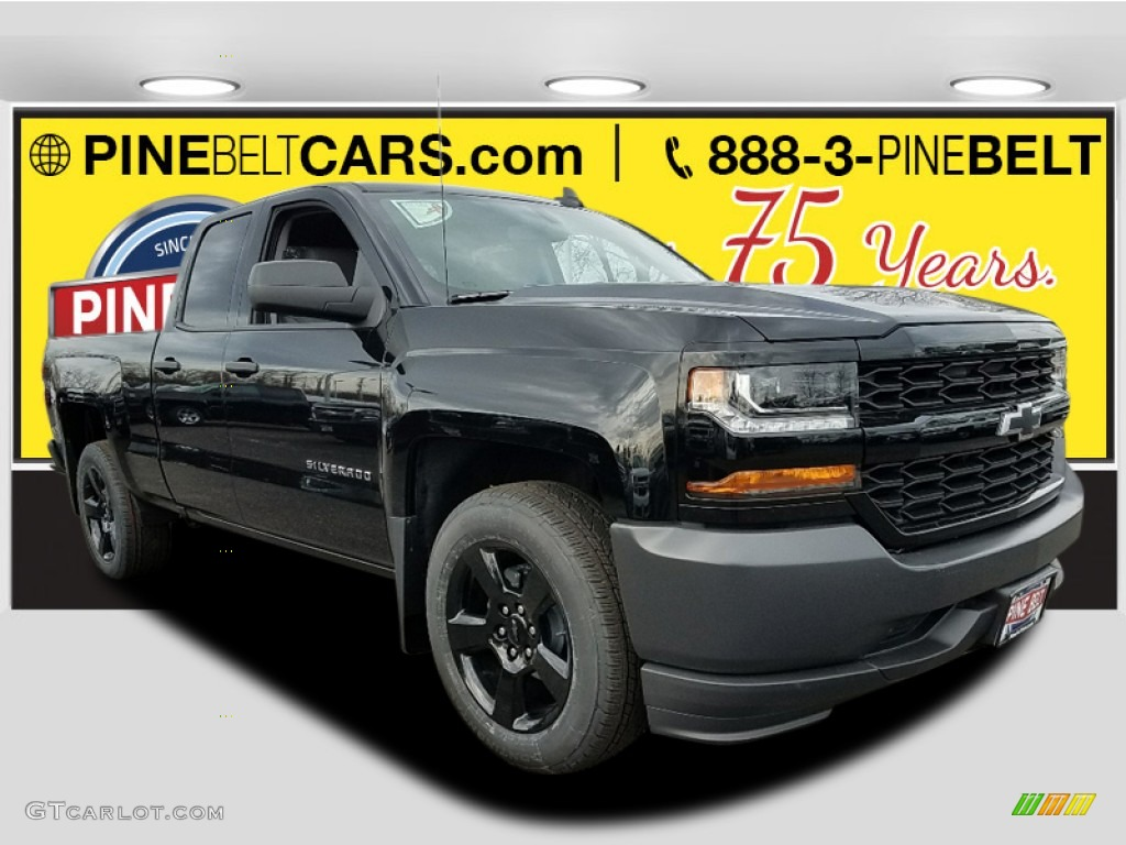 2018 Silverado 1500 WT Double Cab - Black / Dark Ash/Jet Black photo #1