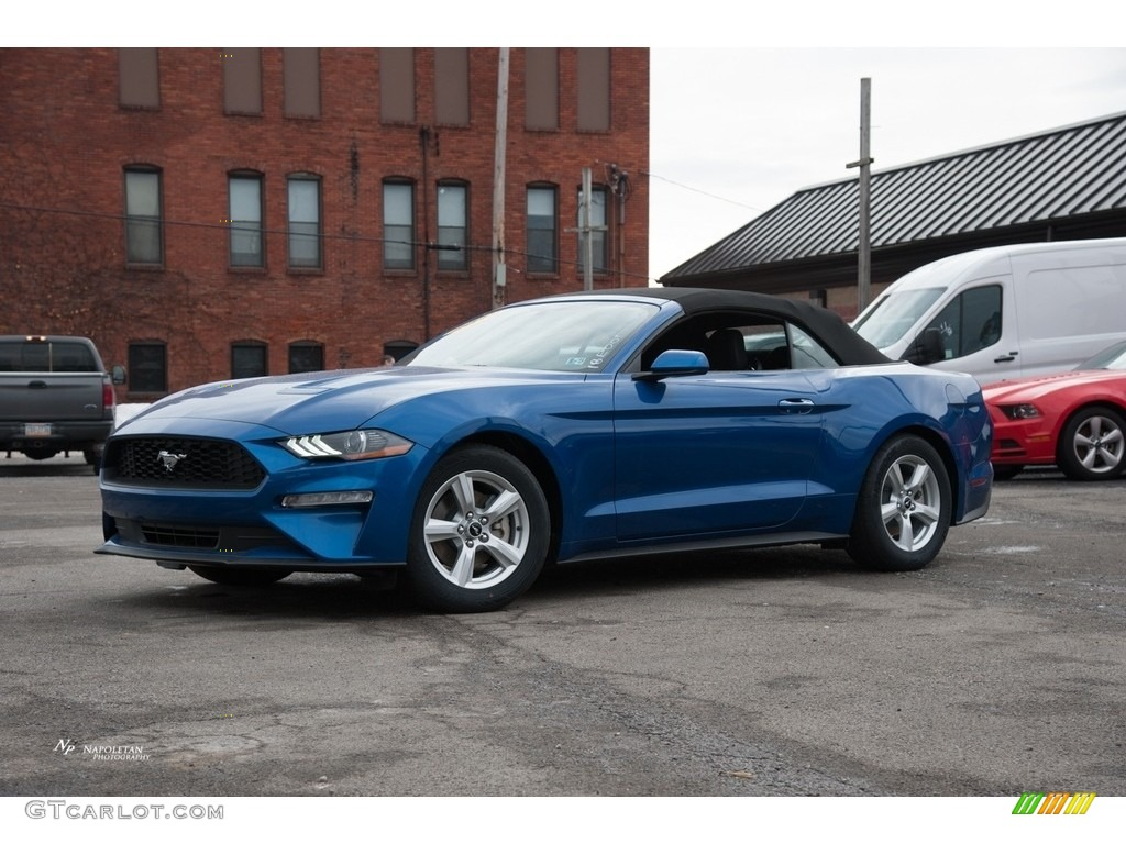 Ford Lightning Specs >> 2018 Lightning Blue Ford Mustang EcoBoost Convertible #125124506 | GTCarLot.com - Car Color ...
