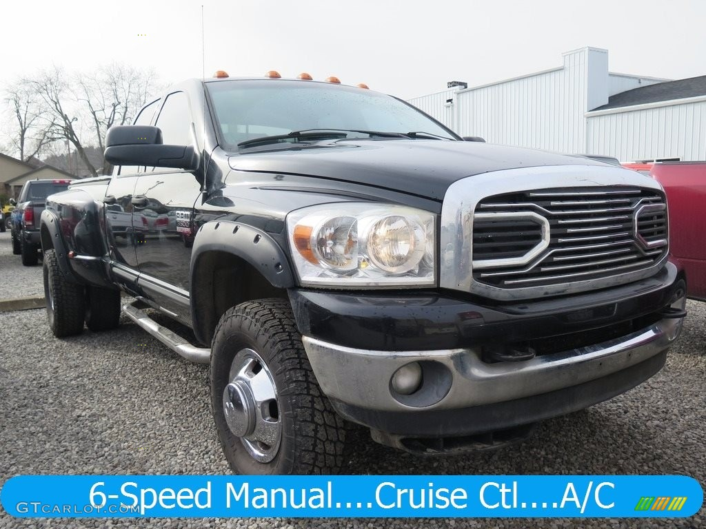 2007 Ram 3500 Big Horn Quad Cab 4x4 Dually - Brilliant Black Crystal Pearl / Medium Slate Gray photo #1