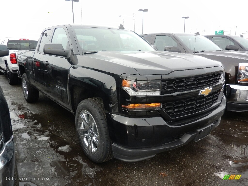 2018 Silverado 1500 WT Double Cab 4x4 - Black / Dark Ash/Jet Black photo #3