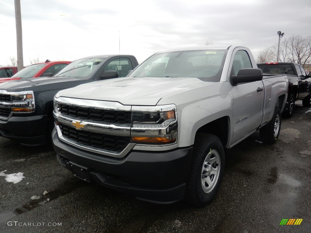 2018 Silverado 1500 WT Regular Cab 4x4 - Silver Ice Metallic / Dark Ash/Jet Black photo #1