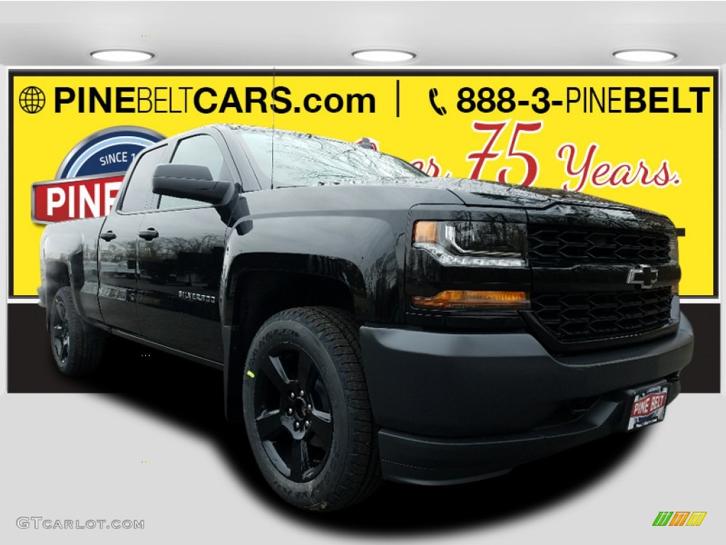 2018 Silverado 1500 WT Double Cab 4x4 - Black / Dark Ash/Jet Black photo #1
