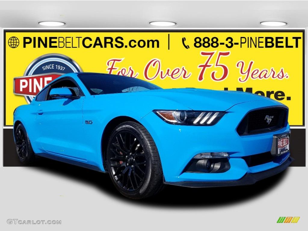 2017 Mustang GT Premium Coupe - Grabber Blue / Ebony photo #1