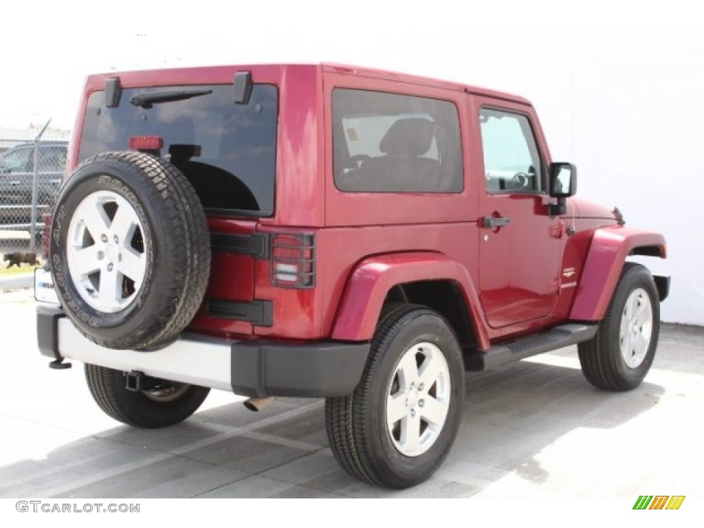2011 Wrangler Sahara 4x4 - Deep Cherry Red Crystal Pearl / Black/Dark Saddle photo #4