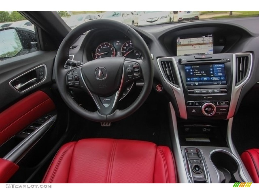 2018 Acura TLX V6 A-Spec Sedan Red Dashboard Photo #126508592