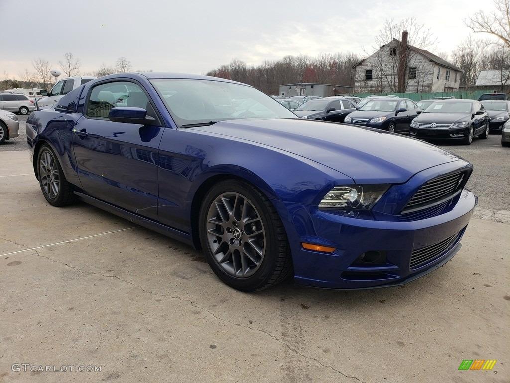 2013 Mustang V6 Premium Coupe - Deep Impact Blue Metallic / Stone photo #7