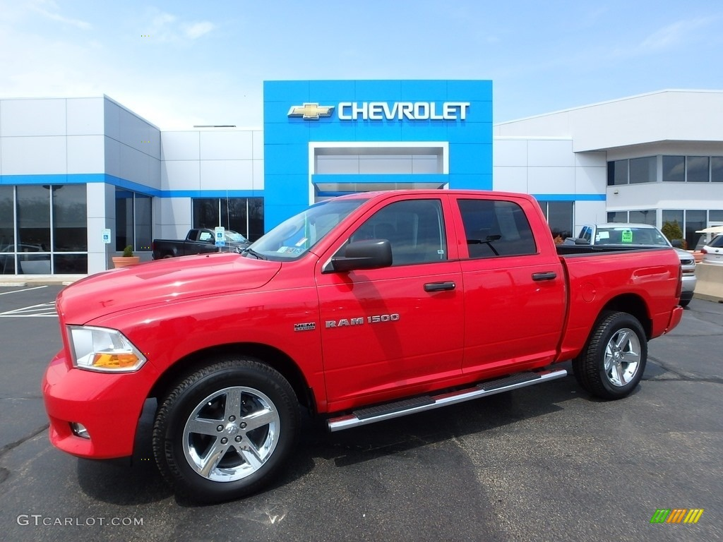 2012 Ram 1500 Express Crew Cab 4x4 - Flame Red / Dark Slate Gray/Medium Graystone photo #1
