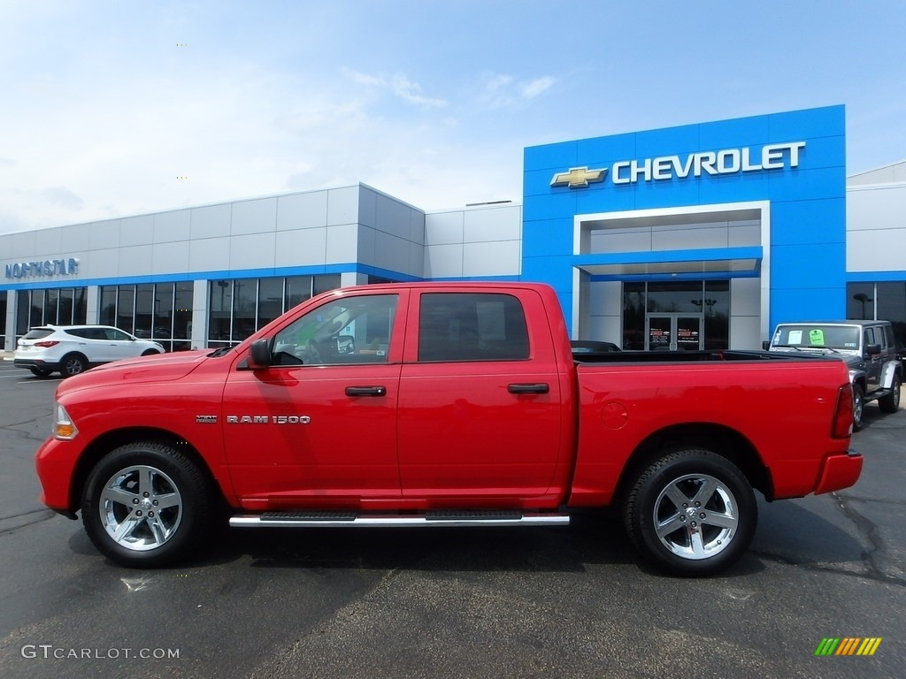 2012 Ram 1500 Express Crew Cab 4x4 - Flame Red / Dark Slate Gray/Medium Graystone photo #3