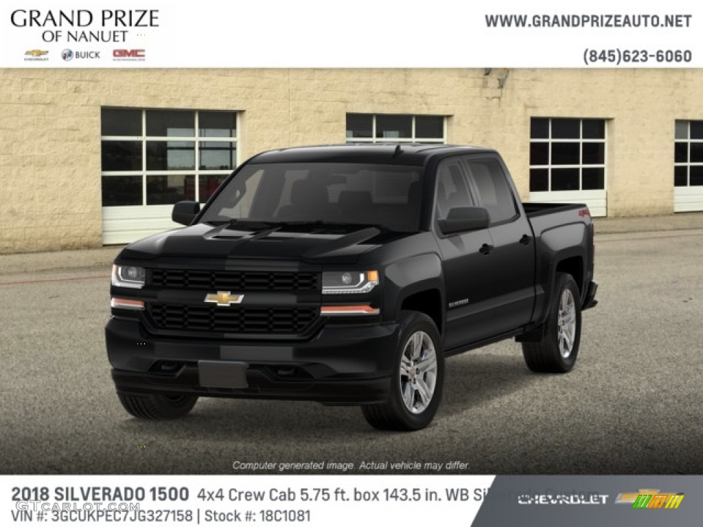 2018 Silverado 1500 Custom Crew Cab 4x4 - Black / Dark Ash/Jet Black photo #1