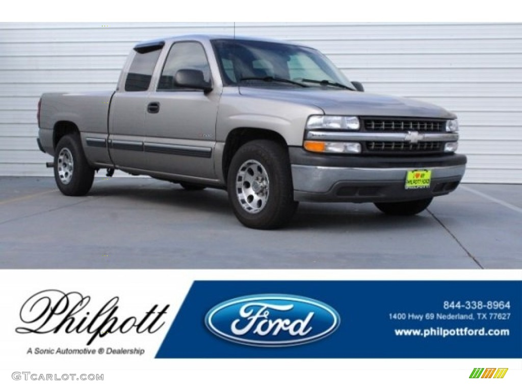 2001 Silverado 1500 Extended Cab - Light Pewter Metallic / Graphite photo #1