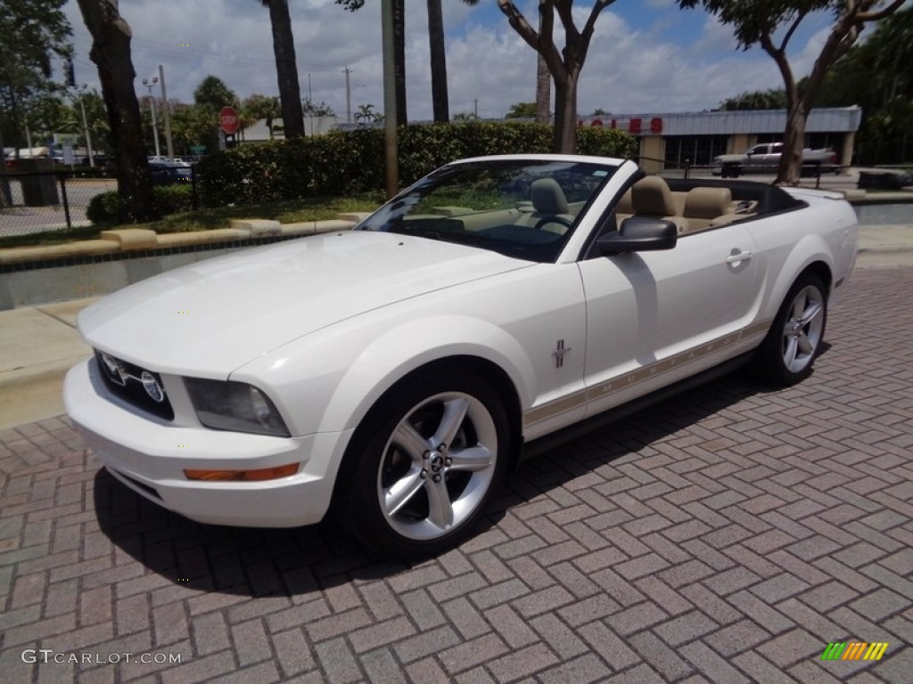 2007 Mustang V6 Premium Convertible - Performance White / Medium Parchment photo #5