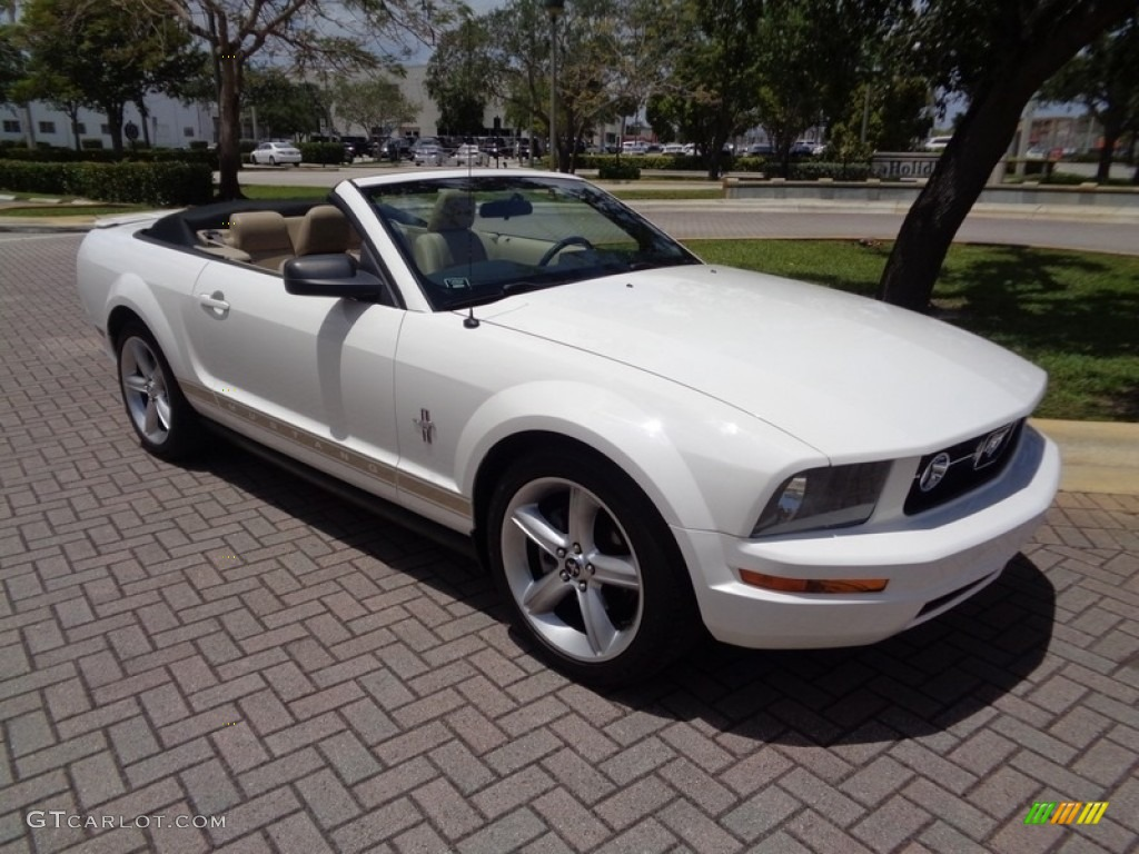 2007 Mustang V6 Premium Convertible - Performance White / Medium Parchment photo #9
