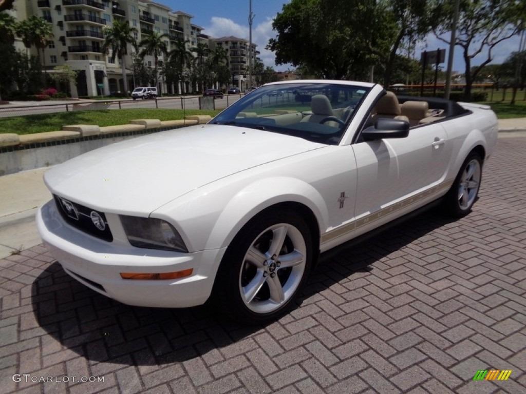 2007 Mustang V6 Premium Convertible - Performance White / Medium Parchment photo #30
