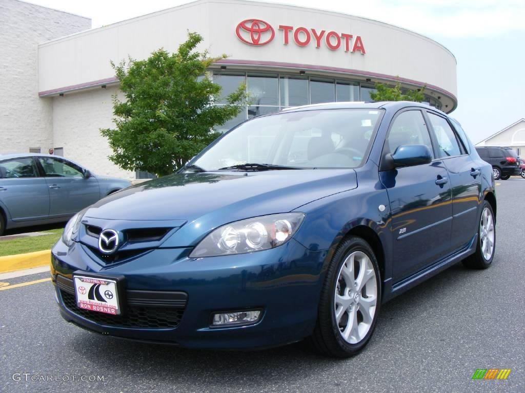 2008 phantom blue mica mazda mazda3 s grand touring hatchback 12727822 car. Black Bedroom Furniture Sets. Home Design Ideas