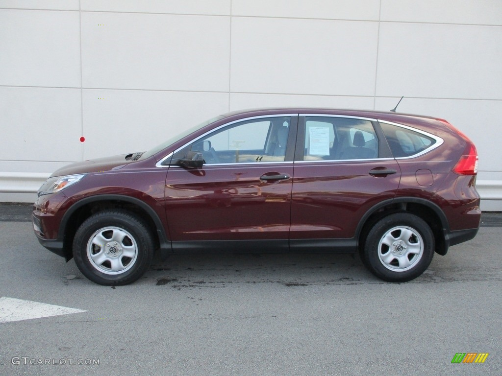 2015 CR-V LX AWD - Basque Red Pearl II / Gray photo #2