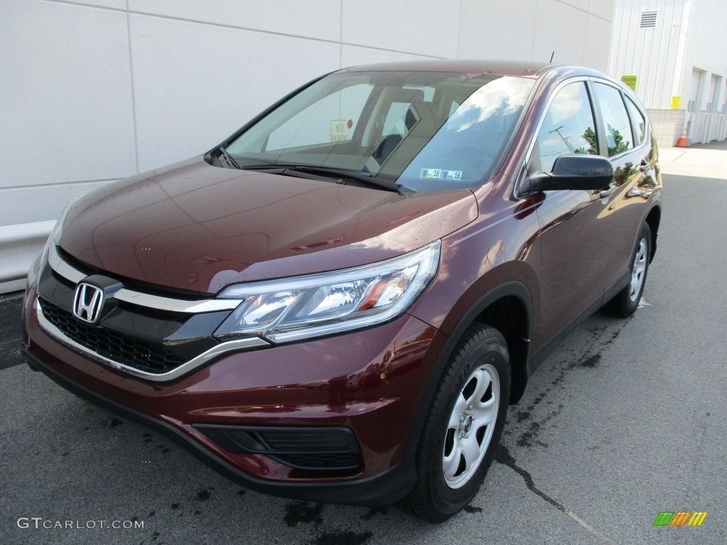 2015 CR-V LX AWD - Basque Red Pearl II / Gray photo #9
