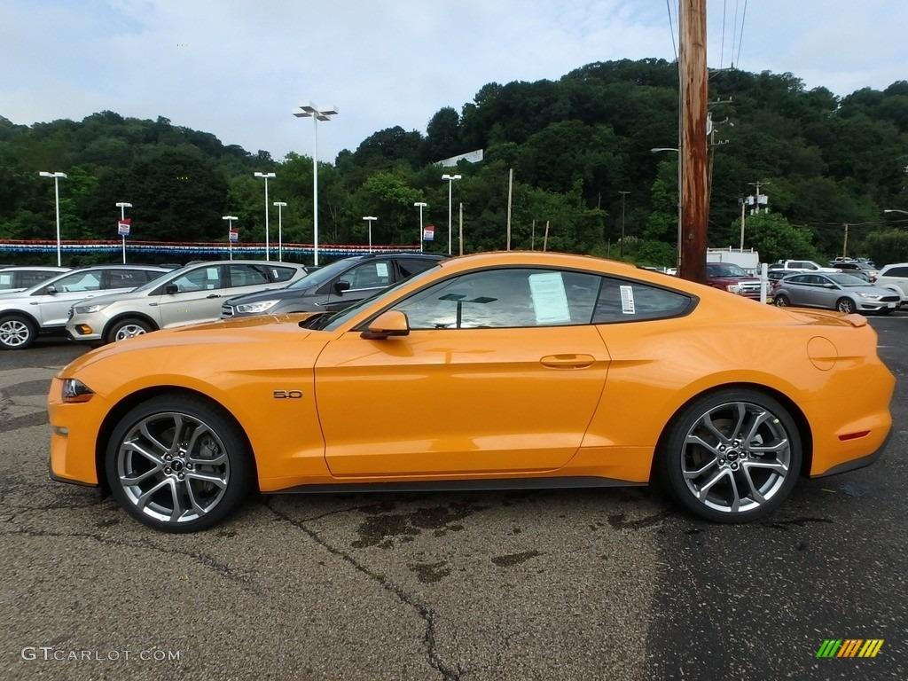 2018 Mustang GT Premium Fastback - Orange Fury / Ebony photo #5
