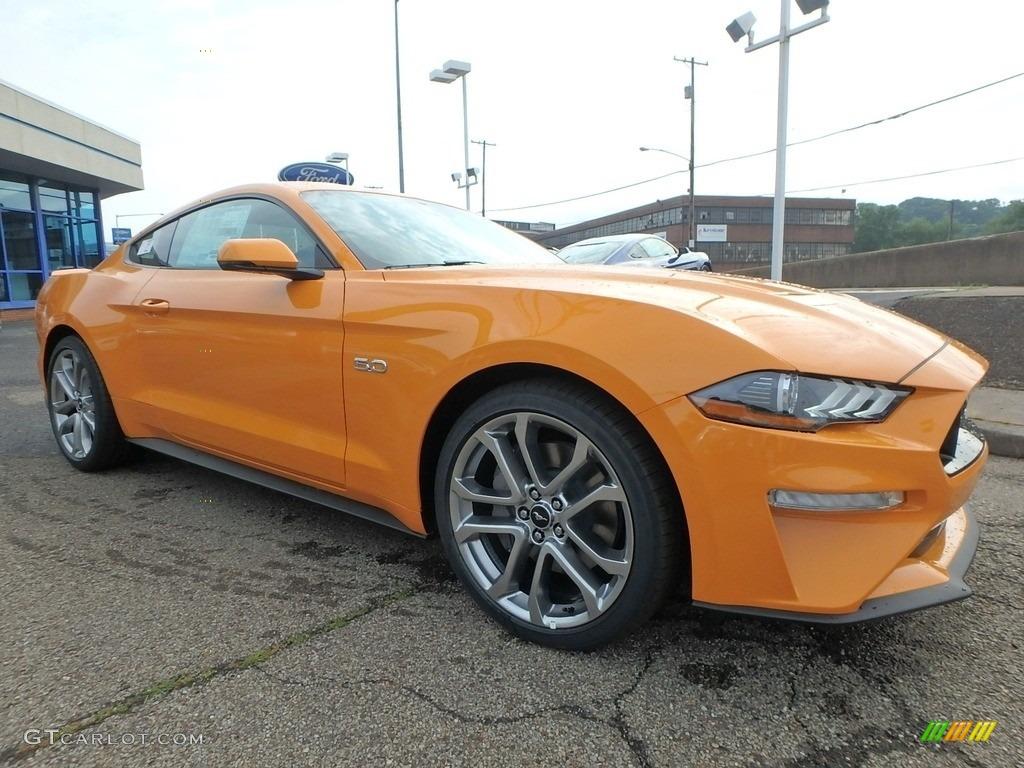 2018 Mustang GT Premium Fastback - Orange Fury / Ebony photo #9