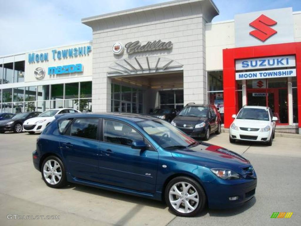 2007 phantom blue mica mazda mazda3 s grand touring hatchback 12853656 car. Black Bedroom Furniture Sets. Home Design Ideas
