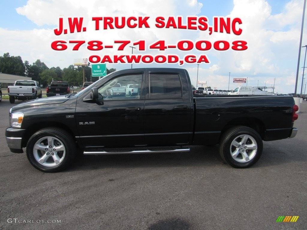 2008 Ram 1500 SLT Quad Cab - Brilliant Black Crystal Pearl / Medium Slate Gray photo #2