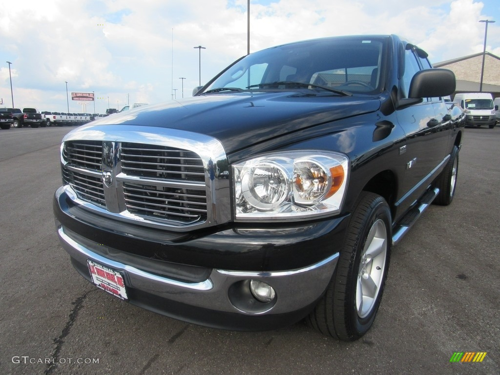 2008 Ram 1500 SLT Quad Cab - Brilliant Black Crystal Pearl / Medium Slate Gray photo #12