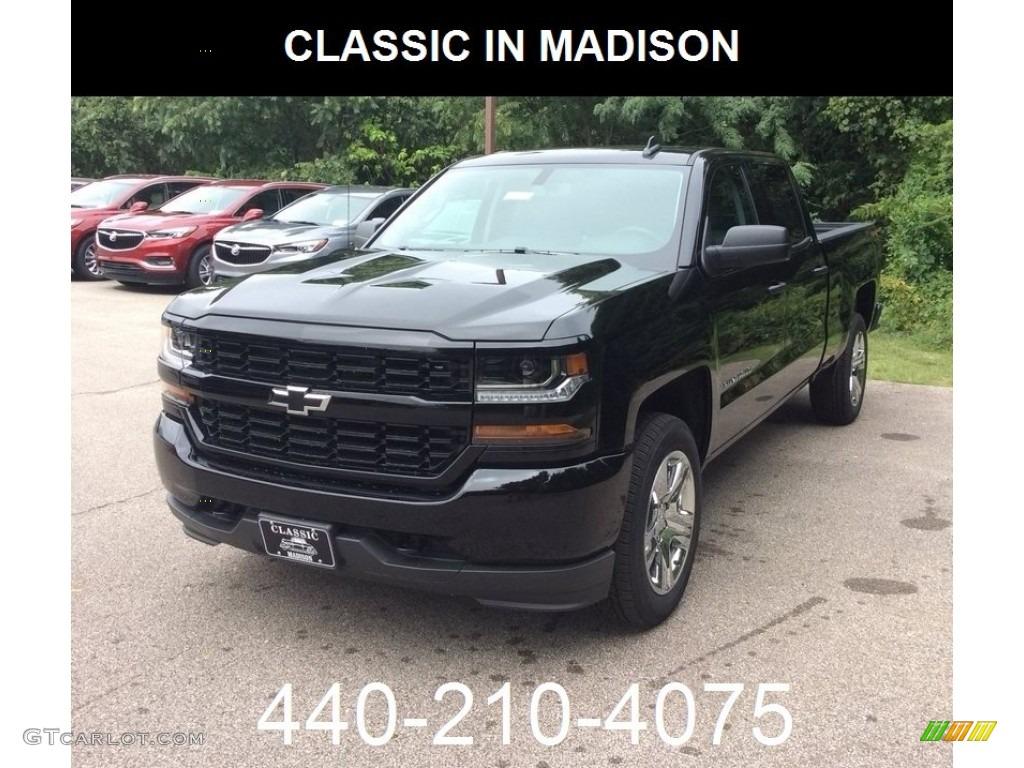 2018 Silverado 1500 Custom Crew Cab 4x4 - Black / Dark Ash/Jet Black photo #1