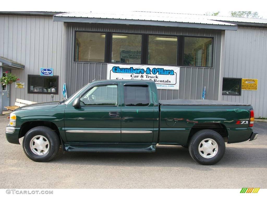 2004 sierra 1500 slt extended cab 4x4 polo green metallic pewter photo 2