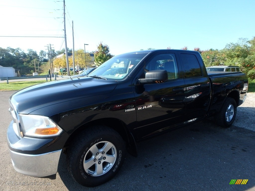 2009 Ram 1500 SLT Quad Cab 4x4 - Brilliant Black Crystal Pearl / Dark Slate Gray photo #1