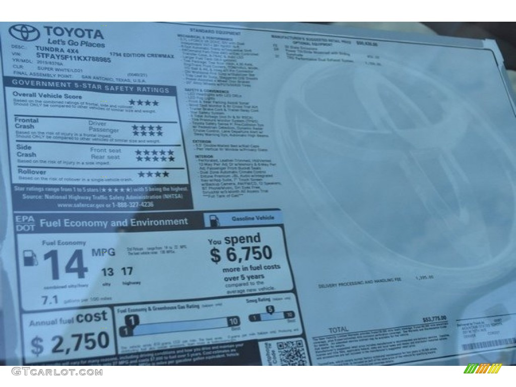 2019 Tundra 1794 Edition CrewMax 4x4 - Super White / Black photo #38