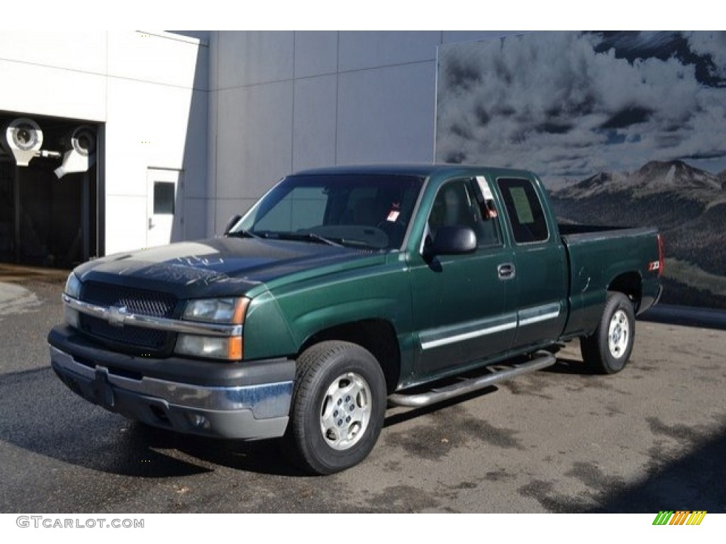 2003 Silverado 1500 LS Extended Cab 4x4 - Dark Green Metallic / Tan photo #2