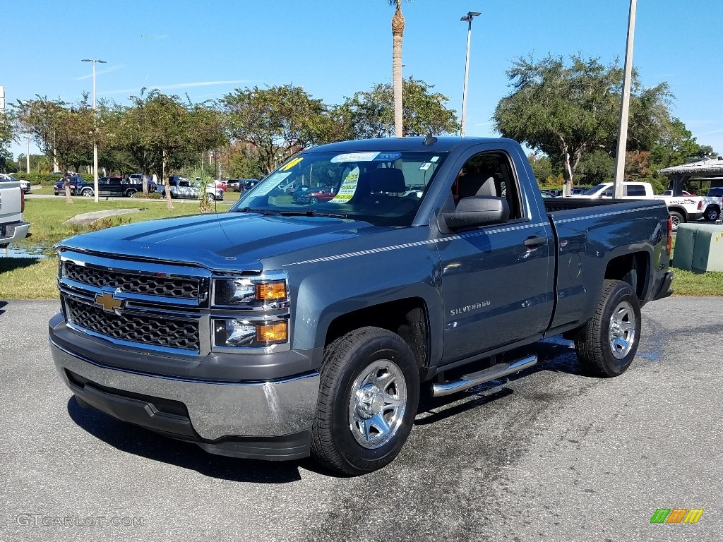 2014 Silverado 1500 WT Regular Cab - Blue Granite Metallic / Jet Black/Dark Ash photo #1