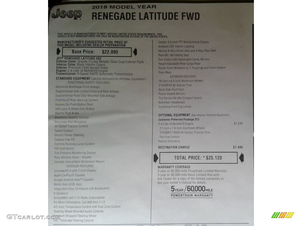 2018 Renegade Latitude - Granite Crystal Metallic / Black photo #30