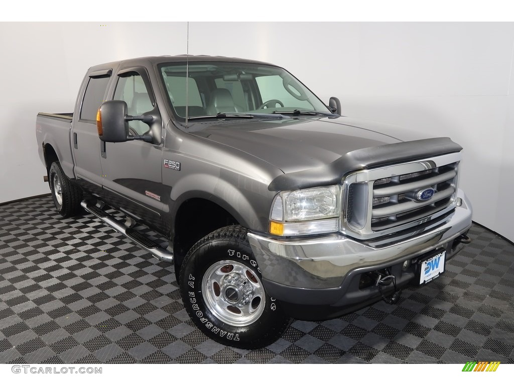 2003 F250 Super Duty Lariat Crew Cab 4x4 - Dark Shadow Grey Metallic / Black photo #4