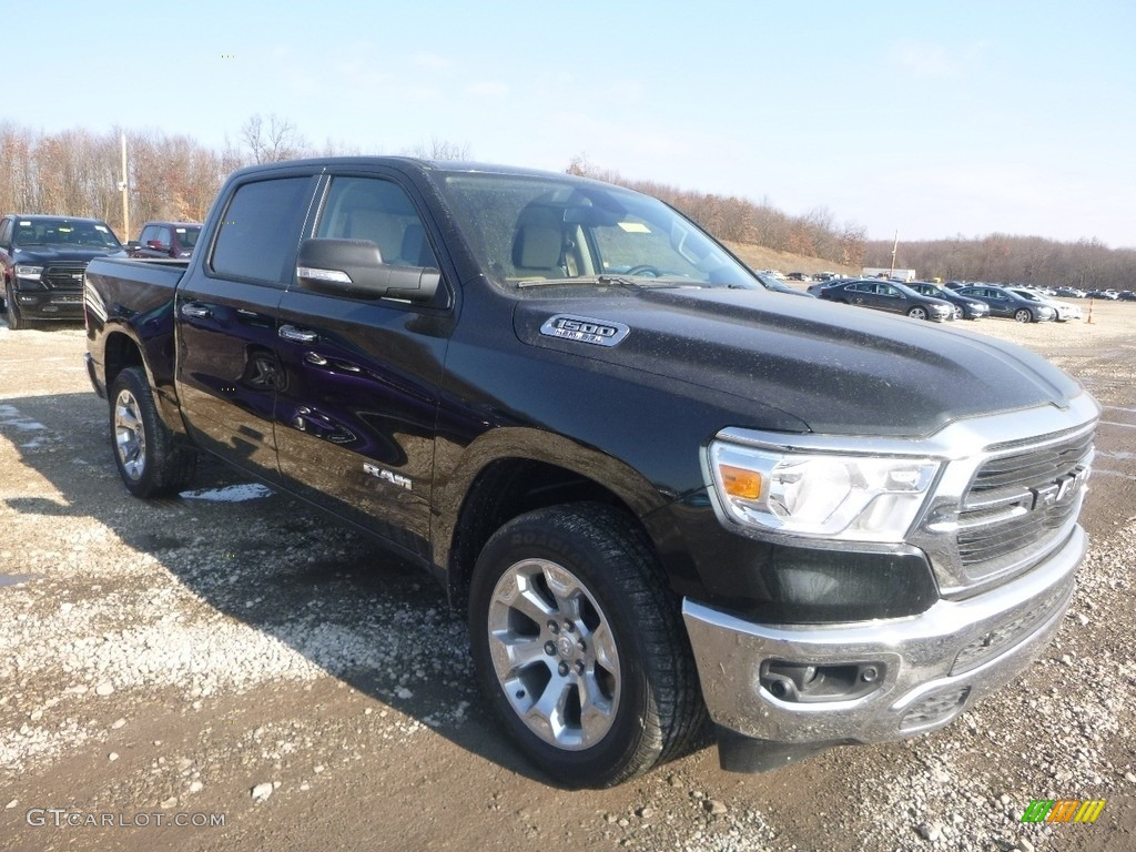 2019 1500 Big Horn Crew Cab 4x4 - Black Forest Green Pearl / Black/Light Mountain Brown photo #8