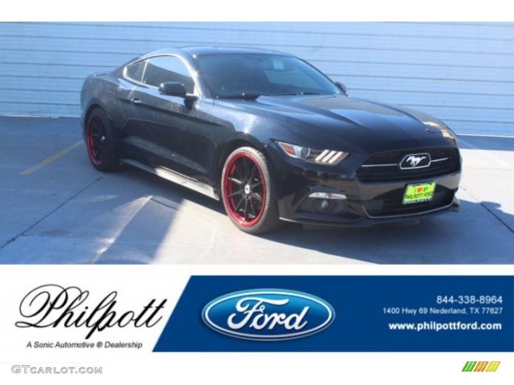 2015 Mustang EcoBoost Coupe - Black / 50 Years Raven Black photo #1