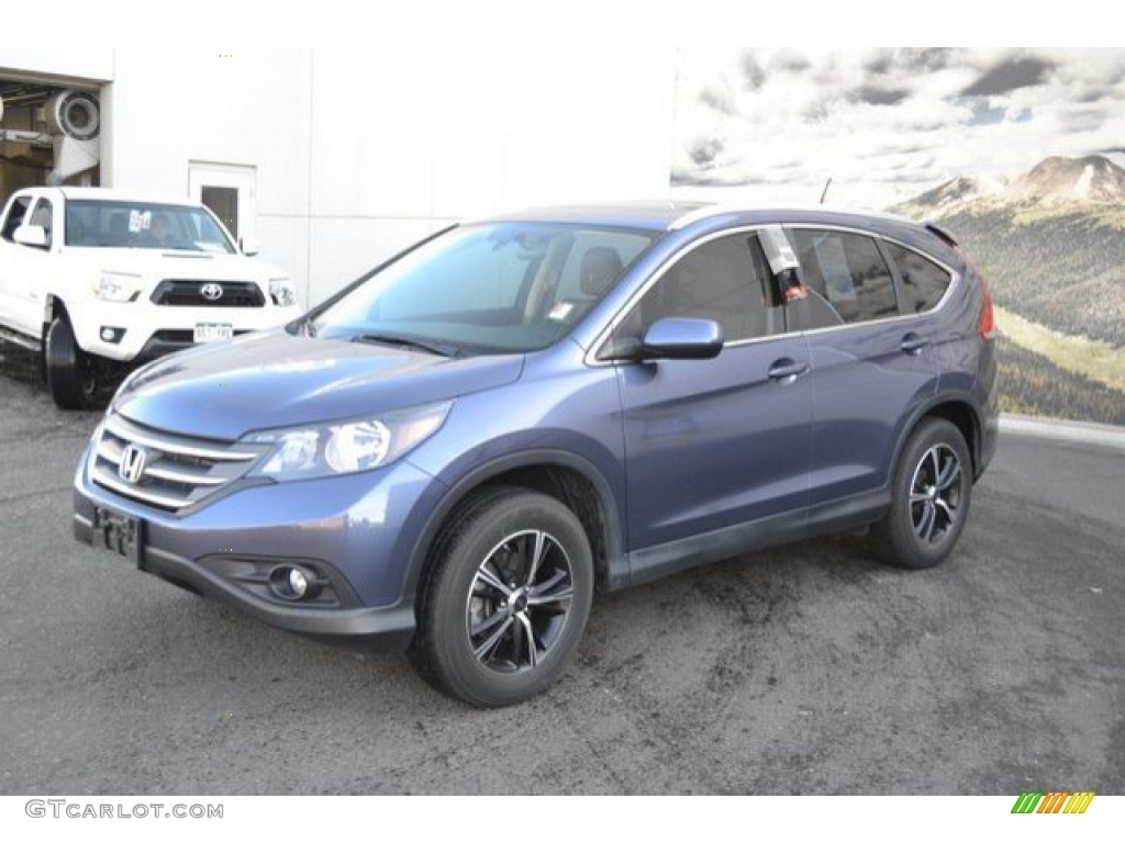 2013 CR-V EX-L AWD - Twilight Blue Metallic / Beige photo #2