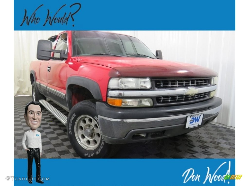 2000 Silverado 1500 LT Extended Cab 4x4 - Victory Red / Graphite photo #1